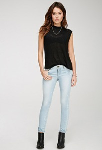 Bleahced Low Rise Skinny Jeans