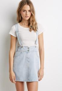 Mini Denim Skirt Overalls
